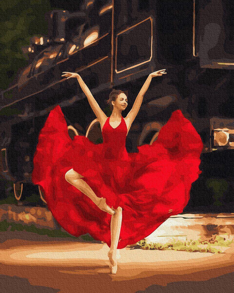 BK-GX33808 Картина для рисования по номерам Балерина в красном, Без коробки