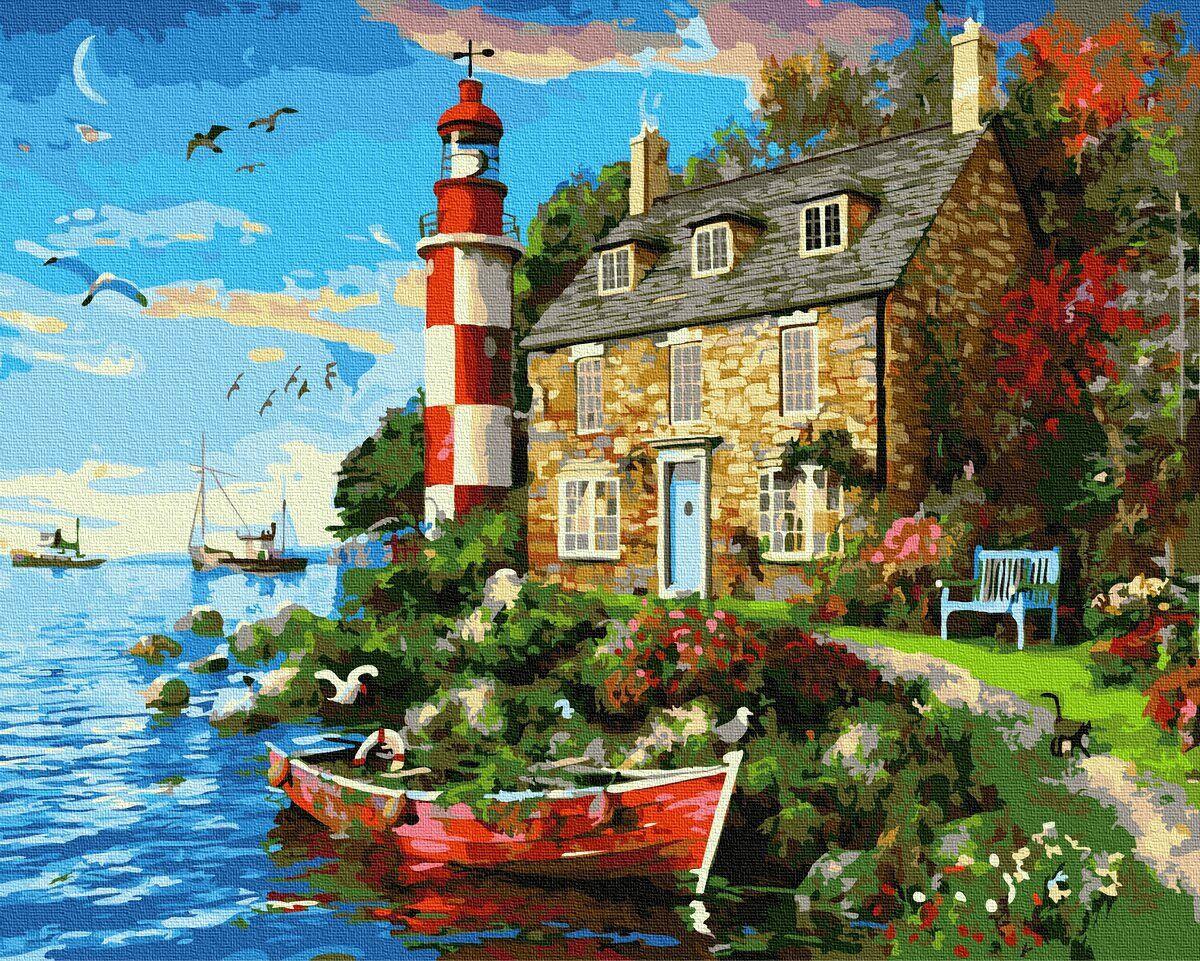 BK-GX34029 Картина для рисования по номерам Дом смотрителя маяка, Без коробки