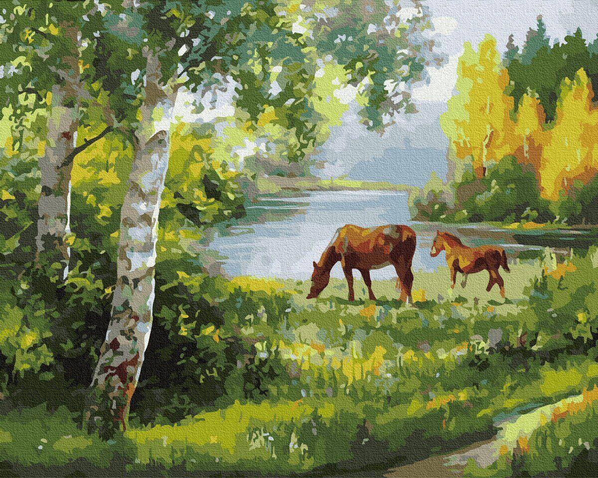 BK-GX34062 Картина для рисования по номерам Лошади на лугу, Без коробки