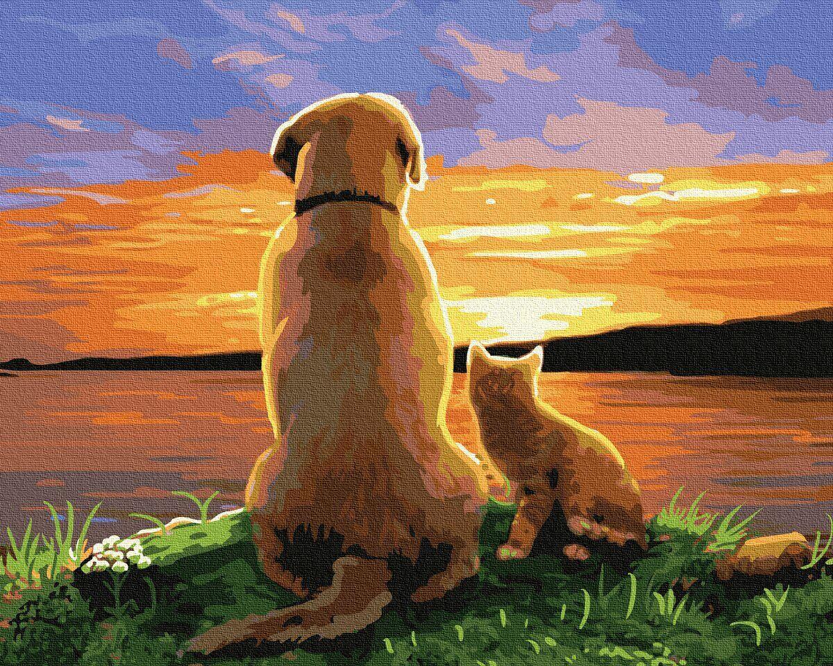 BK-GX34574 Картина для рисования по номерам Пёс с котёнком на закате, Без коробки