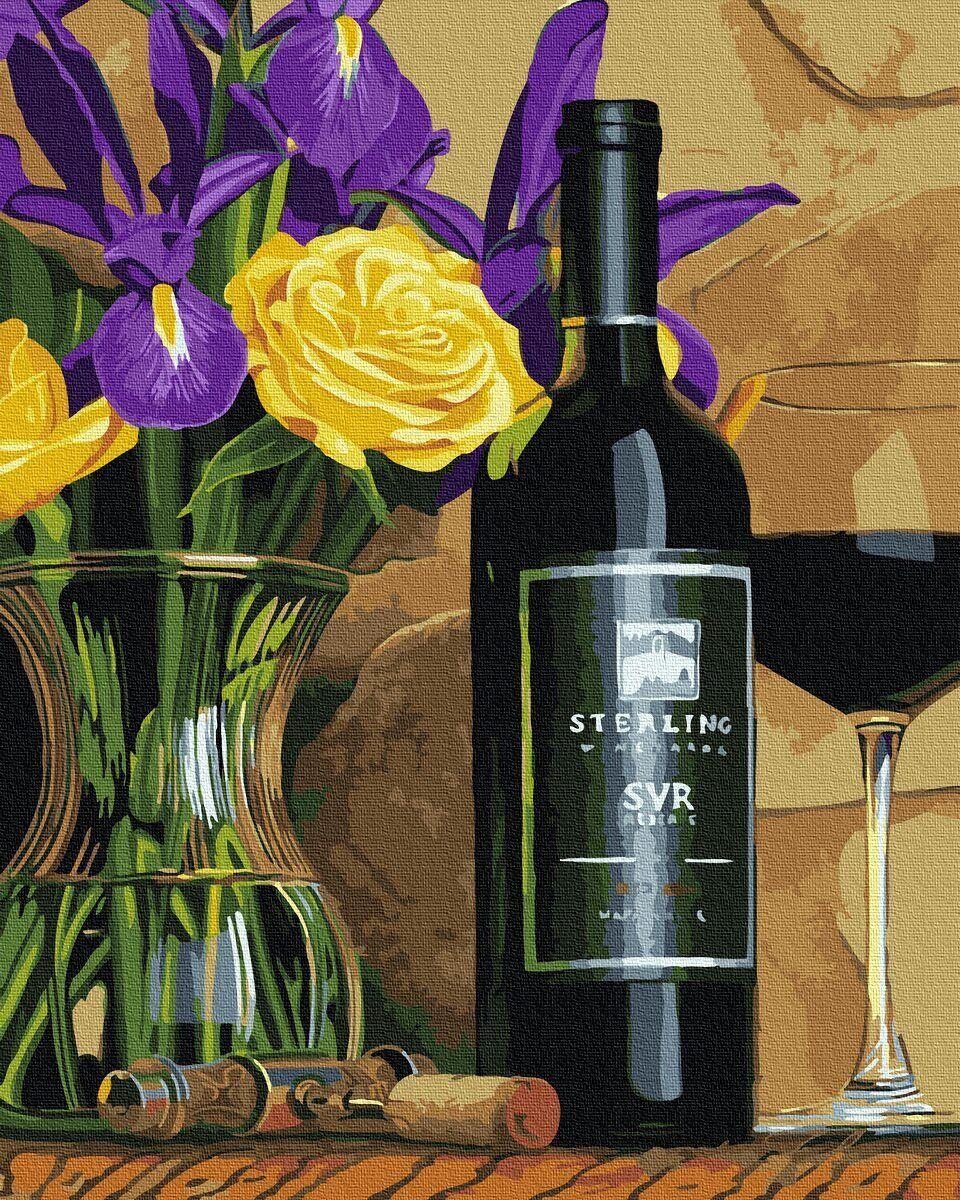 BK-GX34638 Картина для рисования по номерам Цветы и красное вино, Без коробки