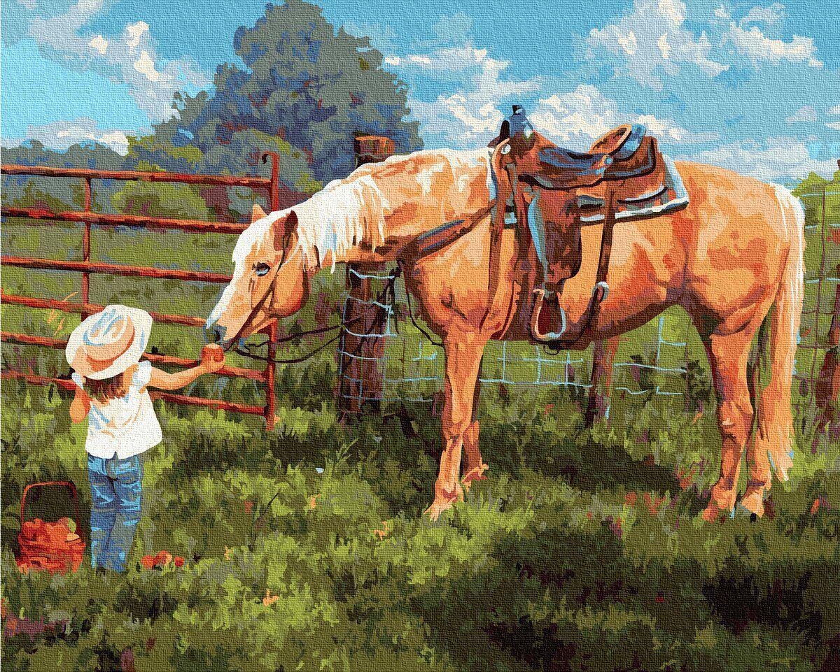 BK-GX35204 Картина для рисования по номерам Любимая лошадка, Без коробки