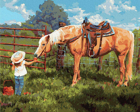 BK-GX35204 Картина для рисования по номерам Любимая лошадка, Без коробки, фото 2