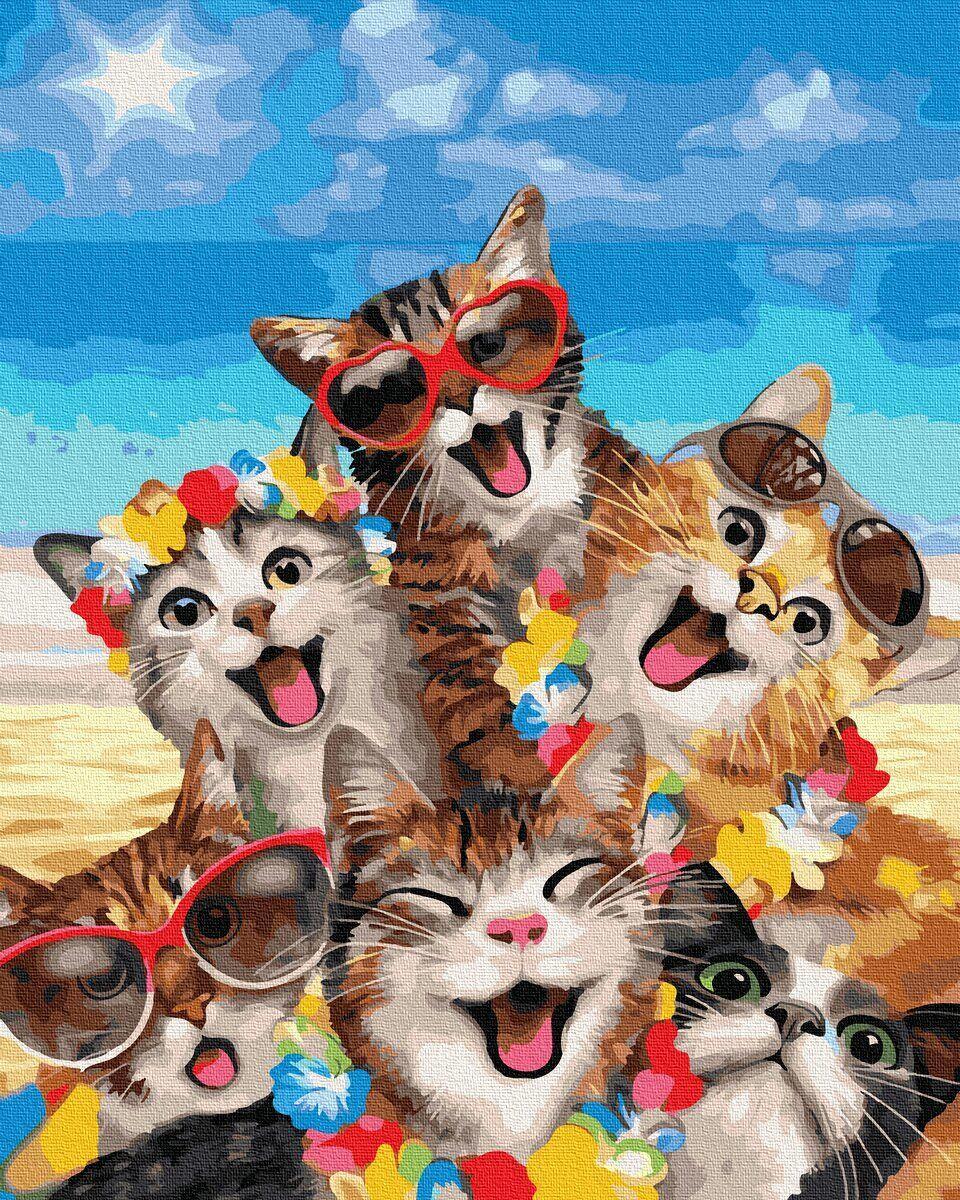 BK-GX35795 Картина для рисования по номерам Весёлые кошки, Без коробки