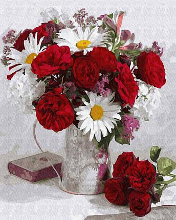 BK-GX36053 Картина для рисования по номерам Ромашки и розы, Без коробки, фото 2