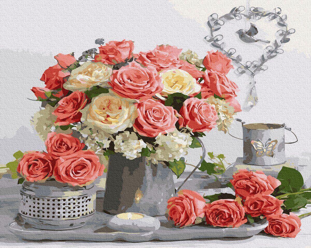 BK-GX36060 Картина для рисования по номерам Чайные розы, Без коробки