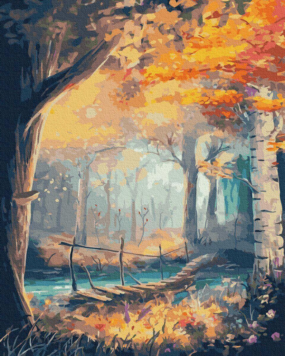 BK-GX36034 Картина для рисования по номерам Осенний лес, Без коробки