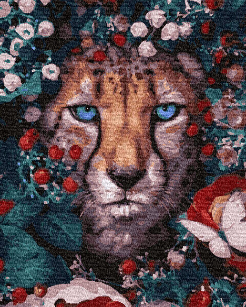 BK-GX32765 Картина для рисования по номерам Цветочный леопард, Без коробки