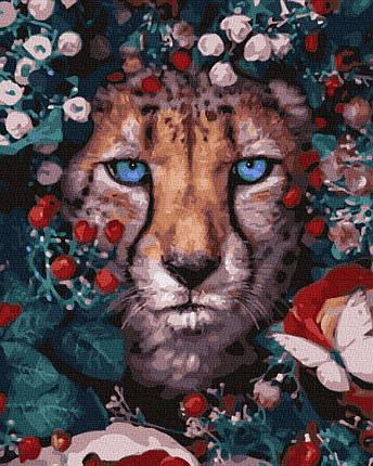BK-GX32765 Картина для рисования по номерам Цветочный леопард, Без коробки, фото 2