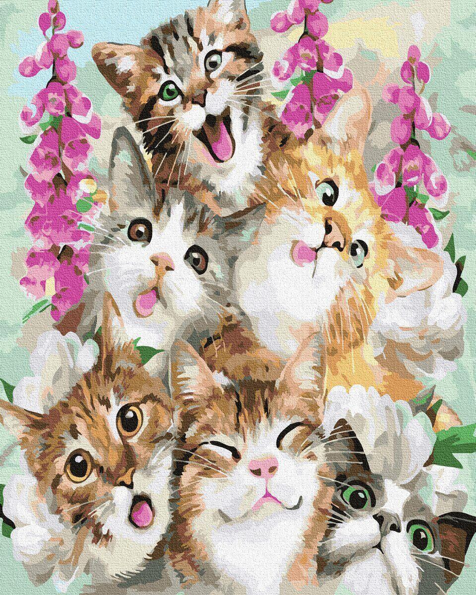 BK-GX33432 Картина для рисования по номерам Милые котята, Без коробки