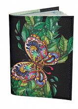 Обложка для паспорта DM 0202 Бабочка на листьях черная SKL47-176473