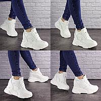 Женские белые кроссовки на танкетке Fritz 1620 сетка эко-кожа . Размер 37 - 23,5 см. Обувь женская