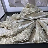 Скатерть с салфетками и кольцами Gelin home zara bej, фото 1