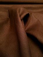 Льняна костюмна тканина коричневого кольору, фото 1
