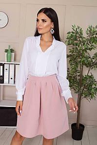 Белая блузка шифоновая модная с воротником стойкой