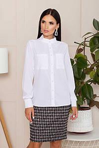 Белая блузка шифоновая офисная с воротником стойкой