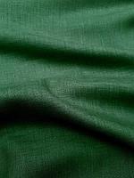 Льняная костюмная ткань темно - зеленого цвета, фото 1