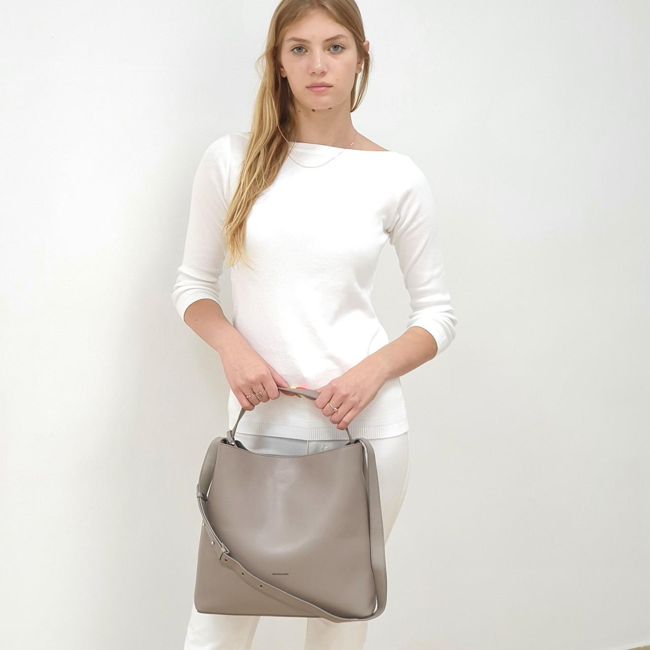 Женская сумка бежевая большого размера повседневная натуральная кожа