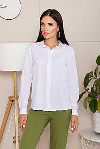 Белая офисно-деловая блузка-рубашка шифоновая