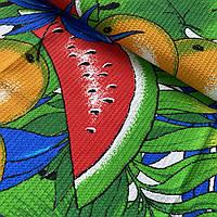 Вафельная ткань с фруктами и тропическими листьями, ш. 150 см