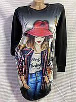 """Женская туника с рисунком """"Девушка в шляпе"""" размер 48-52, цвет уточняйте при заказе, фото 1"""