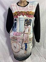 """Женская туника с рисунком """"Девушка с велосипедом"""" размер 48-52, черного цвета"""