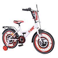 Велосипед детский двухколесный, страховочные колеса TILLY Hero 18 white+red