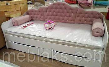"""Кровать """"Л-6""""  для девочки  с мягкой спинкой и подушками, фото 3"""
