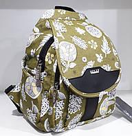 Женский маленький рюкзак городской прогулочный зеленый молодежный с кармашками Dolly 303 24х30х15 см