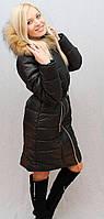 Пальто женское зимнее с капюшоном, фото 1
