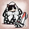 Дамский комплект с котиком. Схема вышивки бисером