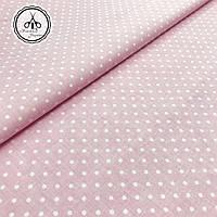 """Польская хлопковая ткань """"горох белый на розовом 4 мм"""""""
