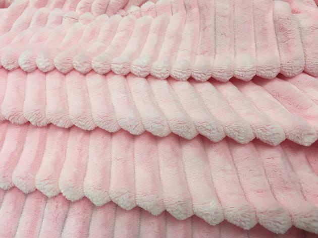 Плюш Minky Stripes розовый 350г/м2, фото 2