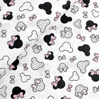 """Польская хлопковая ткань """"Микки мелкие с розовыми бантиками на белом"""", фото 2"""