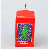 Свеча для праздничного интерьера 65412, квадратная, 100 мм, с аппликацией, Свечки для Нового Года, Праздничные