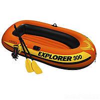Двухместная надувная лодка Intex 58332 Explorer 300 Set, 211 х 117 см, с веслами и насосом
