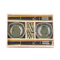 """Набор посуды для суши """"Sakura"""" A0013, размер 24х17 см, в комплекте 6 предметов, материал керамика / дерево, в"""