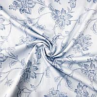 Сатин «цветы голубые» 240 см