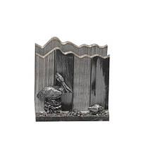 Подставка для бумажек Hepatica с птицей, серая, настольная, подставка настольная, подставка для бумаг