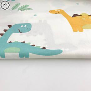 """Сатин """"динозавры разноцветные на молочном"""" 160, фото 2"""