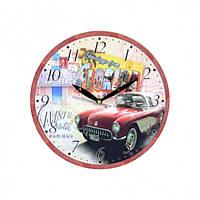 """Часы настенные для декора """"Машинка"""" B0152, размер 28.8x28.8x3.5 см, дерево, часы для дома, часы на стену, часы"""