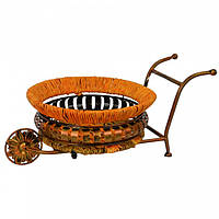 """Подставка под цветы """"Тележка"""" B9669, размер 44*20 см, изделия из ротанга и металла, декор для дома, декор для сада"""