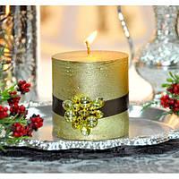 Свеча для праздничного интерьера C172, 7.5*7.5 см, с бисером, Пеньковые свечи, Свечки для Нового Года, Праздничные свечи, фото 1