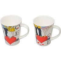 """Чашка керамическая для напитков """"Love"""" CB909, размер 11х9 см, объем 380 мл, 4 вида, в коробке, чашка для чая,, фото 1"""