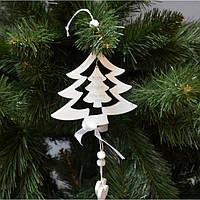 """Новогодняя подвеска на елку """"Елка белая"""" NG004, 11*10 см, MDF, Новогодние сувениры, Украшения новогодние,"""