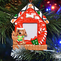"""Фоторамка для интерьера """"Собака"""" NG118, 10.5*8 см, холодный фарфор, Новогодние сувениры, Праздничный декор, Новогодние рамки под фотографии"""