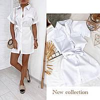 Платье рубашка женское с поясом белое, ментол 42-44, 44-46