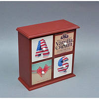 """Шкатулка деревянная для хранения мелочей """"America Vibe"""" PR058, комодик на 4 ящика, размер 24x24x11 см, шкатулка под украшения, шкатулка из дерева, фото 1"""