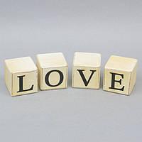 """Статуэтка деревянная для декора """"Love"""" FF344, в комплекте 4 элемента, 6х6х6 см, статуэтка декоративная, статуэтка из дерева"""
