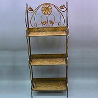 "Этажерка декоративная для дома ""Luxury"" HD080206, на 3 полки, ротанг / металл, 136х55х27 см, этажерка для"